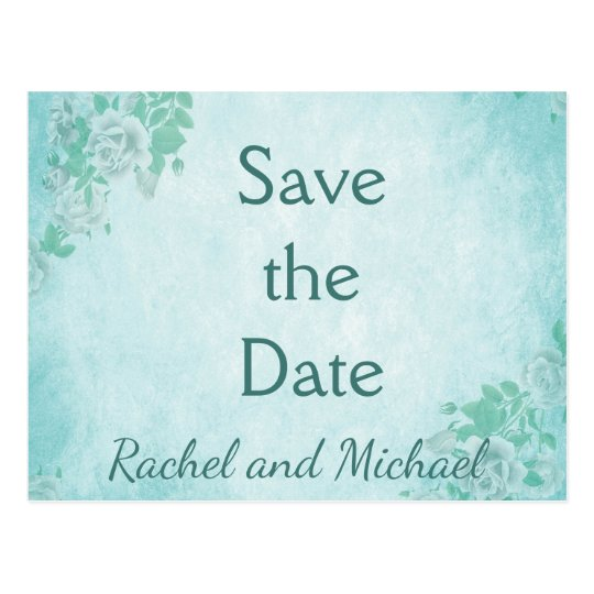 Blue Floral Save the date Postcard