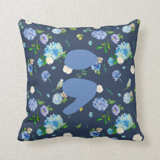 Blue Floral Semicolon Pillow