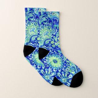 Blue Floral Socks 1