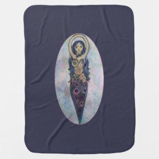 Blue Floral Spiral Goddess Baby Blankets