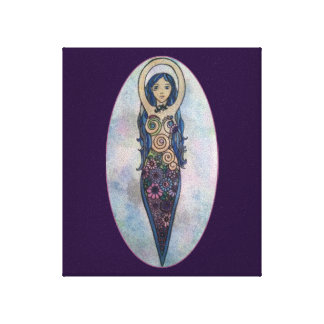 Blue Floral Spiral Goddess Canvas Print