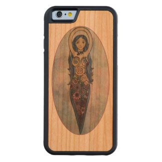 Blue Floral Spiral Goddess Carved Cherry iPhone 6 Bumper Case