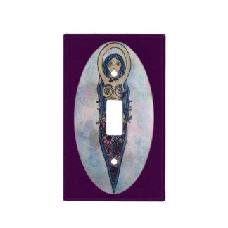 Blue Floral Spiral Goddess Light Switch Cover