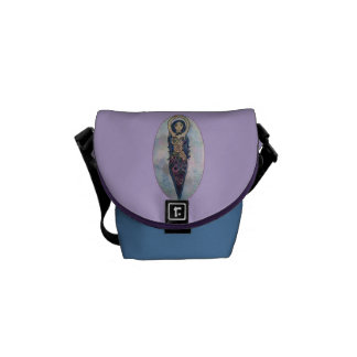 Blue Floral Spiral Goddess Messenger Bag