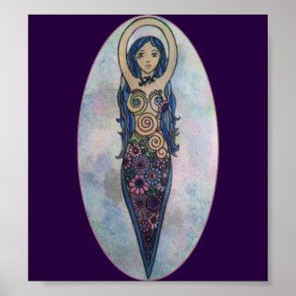 Blue Floral Spiral Goddess Poster