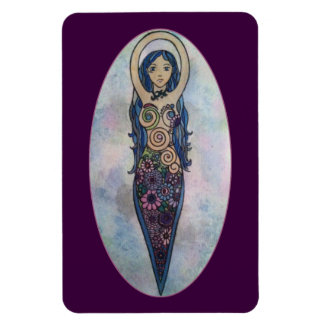 Blue Floral Spiral Goddess Rectangular Photo Magnet