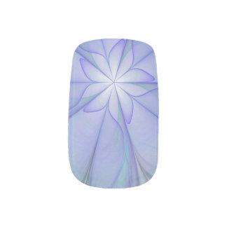 blue floral star nail art