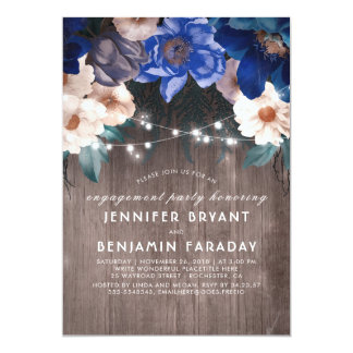 Blue Floral String Lights Rustic Engagement Party Card