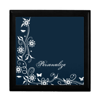 Blue Floral Swirl Gift Box