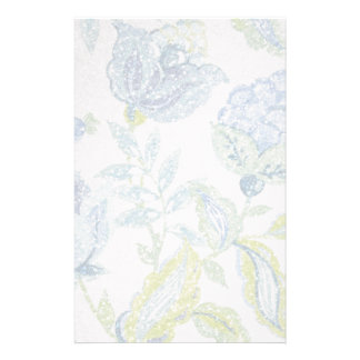 Blue Floral Tapestry with Glitter Effect Stationery