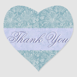 Blue Floral Thank You Sticker/Seal