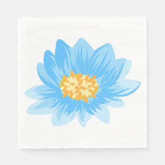 Blue Floral Turquoise Flower Wedding, Party Paper Napkins