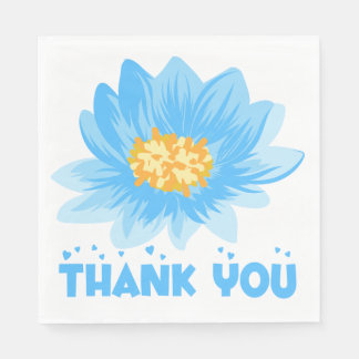 Blue Floral Turquoise Thank You Flower Wedding Disposable Napkins
