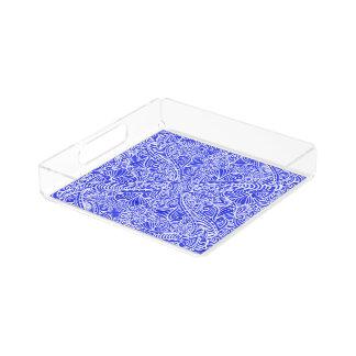 Blue Floral twists Acrylic Tray