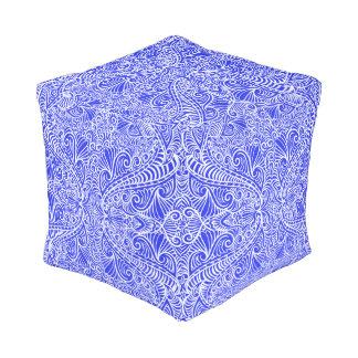 Blue Floral twists Pouf