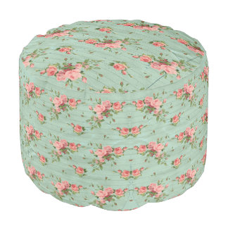 Blue Floral Vintage Girly Cute Gift Pouf