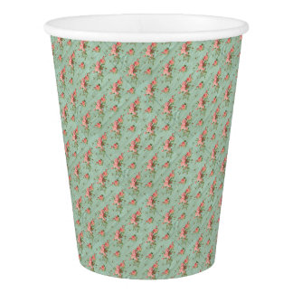 Blue Floral Vintage Girly Cute Party Supply Paper Cup