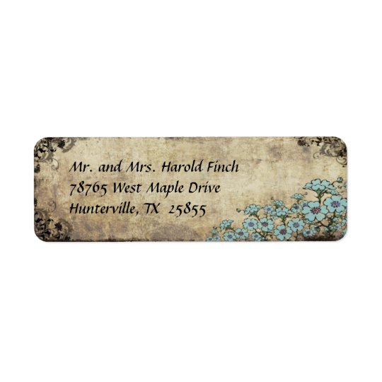 Blue Floral Vintage Wedding Return Address Label