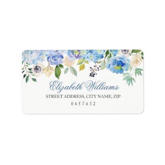 Blue Floral Watercolor Address Labels