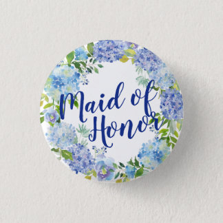 Blue Floral Watercolor Maid of Honor Button