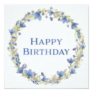 "Blue Floral Watercolor Wreath Happy Birthday Card 5.25"" Square Invitation Card"