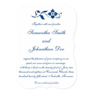 Blue Floral Wedding Card