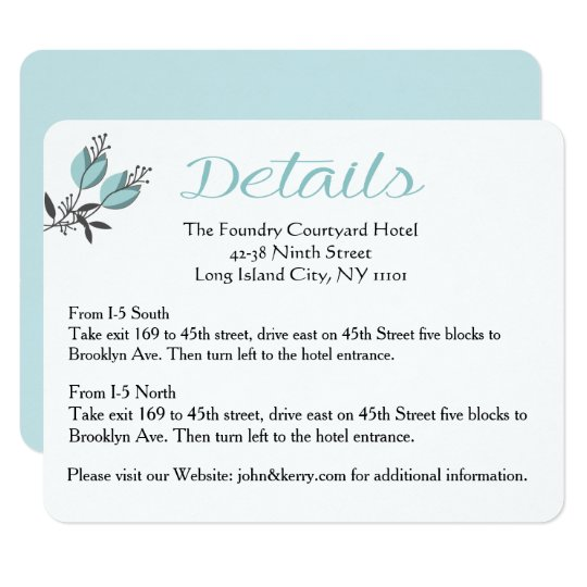 Blue Floral Wedding Direction / Details Wedding Card