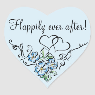 Blue Floral Wedding Favor Heart Sticker