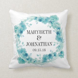 Blue Floral Wedding Keepsake Throw Pillow