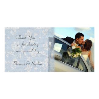 Blue Floral Wedding Photo Card