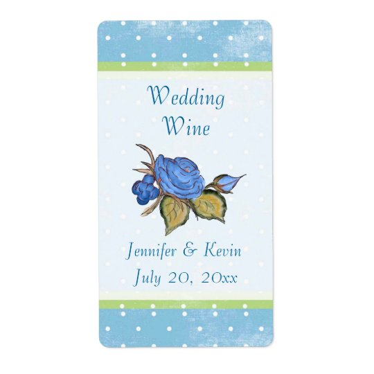 Blue Floral Wedding Wine Label Shipping Label