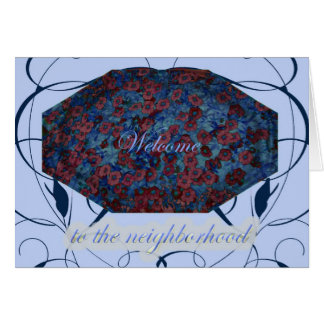 Blue Floral Welcome to the Neighborhood Card