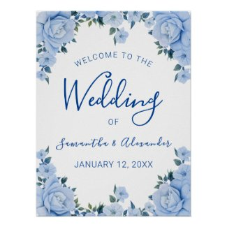 Blue Floral Welcome to the Wedding Poster