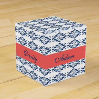 Blue Floral with Coral Band Favor Box