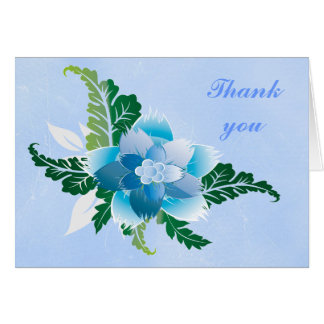 Blue Floral with scratched blue background Card