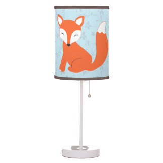 Blue Floral Woodland Fox Nursery Table Lamp