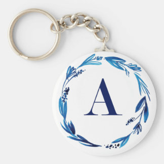Blue Floral Wreath 'A' Keychain