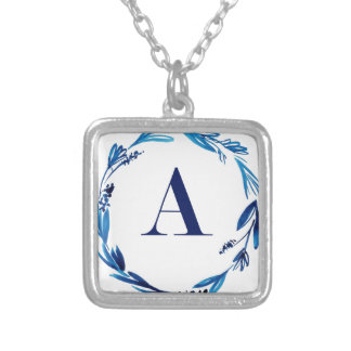 Blue Floral Wreath 'A' Silver Plated Necklace