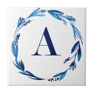 Blue Floral Wreath 'A' Tile
