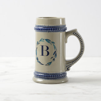 Blue Floral Wreath 'B' Beer Stein