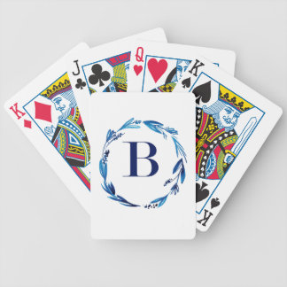 Blue Floral Wreath 'B' Bicycle Playing Cards
