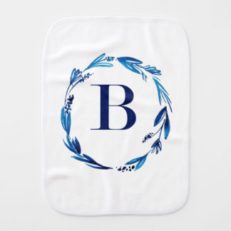 Blue Floral Wreath 'B' Burp Cloth