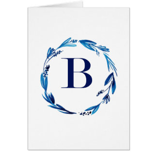 Blue Floral Wreath 'B' Card