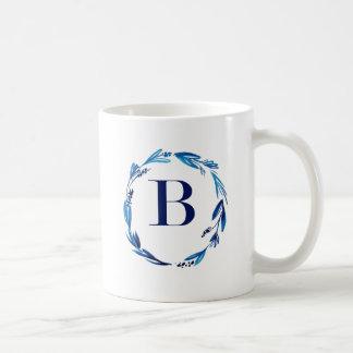 Blue Floral Wreath 'B' Coffee Mug