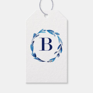Blue Floral Wreath 'B' Gift Tags