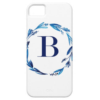 Blue Floral Wreath 'B' iPhone 5 Cases