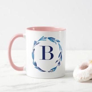 Blue Floral Wreath 'B' Mug