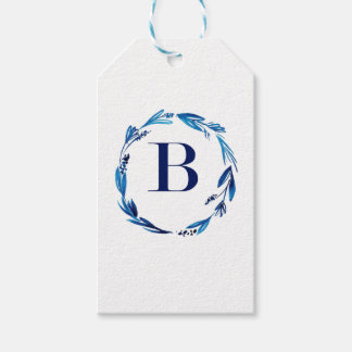 Blue Floral Wreath 'B' Pack Of Gift Tags