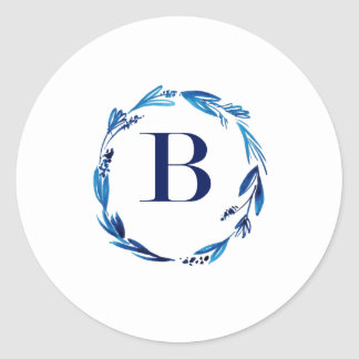 Blue Floral Wreath 'B' Round Sticker