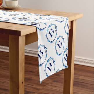 Blue Floral Wreath 'B' Short Table Runner